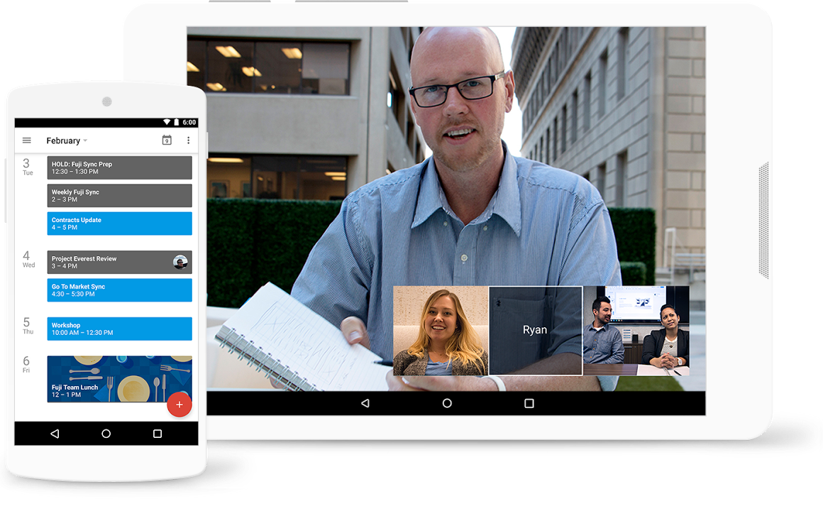 Make decisions faster, face to face.   Use shared calendars to see when others are available and schedule meetings with automatic email invites. With one click, turn your meeting into a video conference from any camera-enabled computer, phone, or tablet. Share your screen to review your work as a team, and make decisions on the spot.